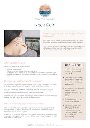 Neck Pain Fact Sheet